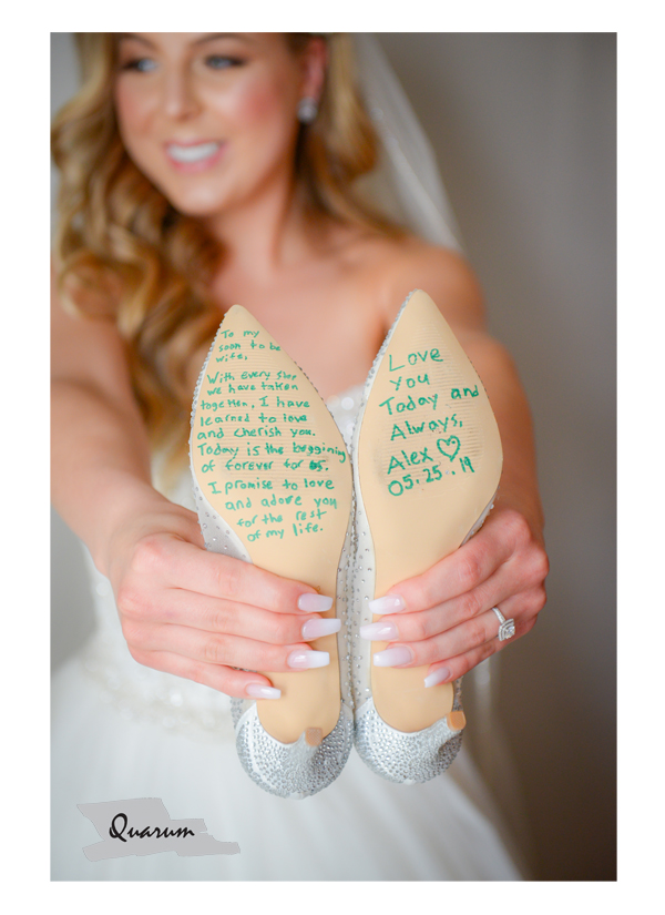 message to bride from groom on shoes, bride, letter to bride, quarum photo video, toronto weddings, luxury weddings,