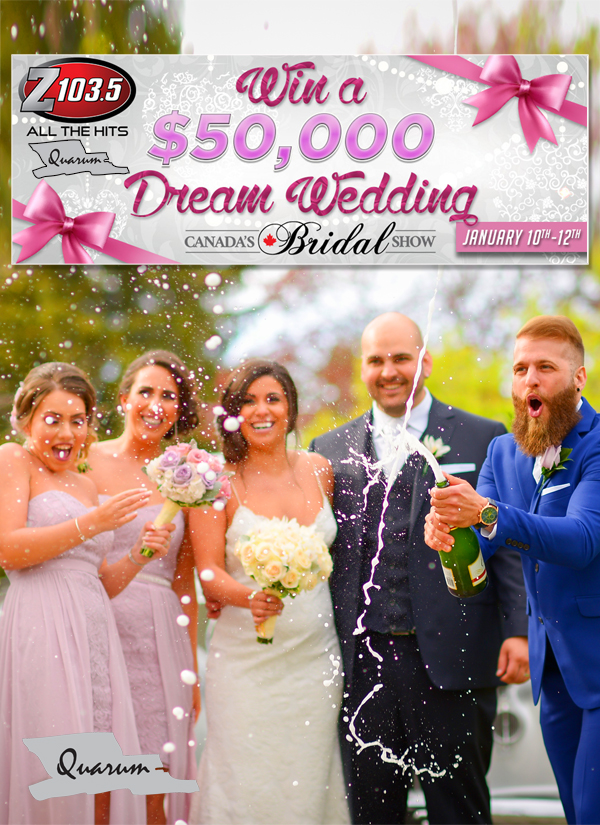 win a wedding 2020, quarum photo video, z 103.5, mark piotrowski, $50,000 wedding giveaway, toronto wedding photo video, luxury weddings