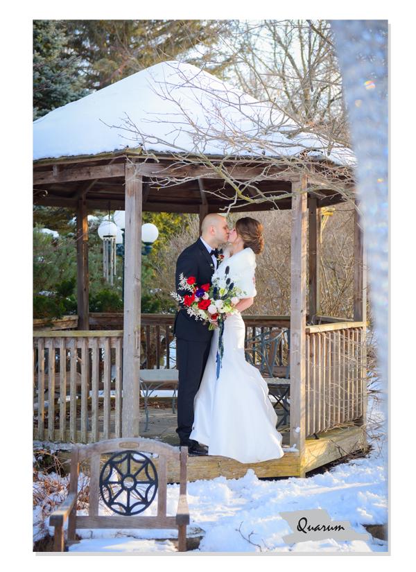 Winter wedding newmarket, toronto, quarum photo video, luxury weddings, snow covered gazebo, winter wonderland