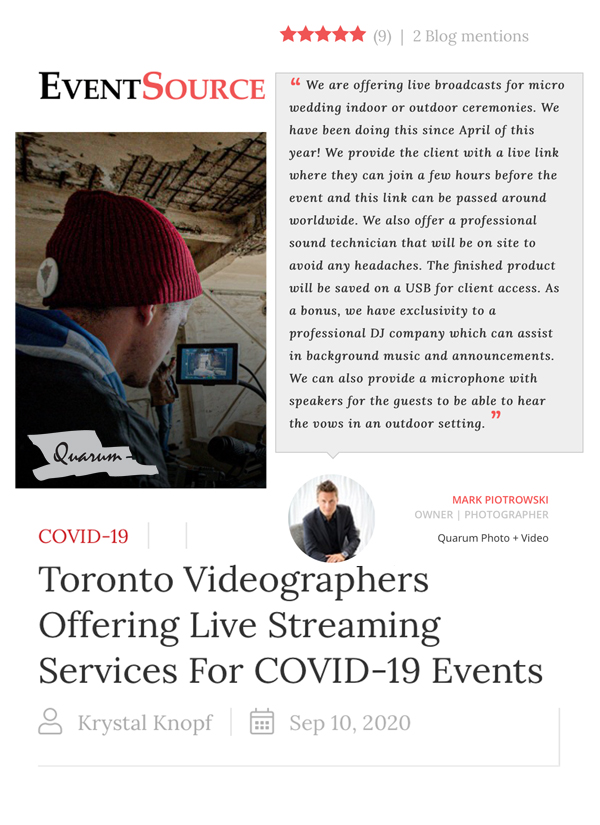 toronto live streaming weddings, quarum photo video, mark piotrowski, event source, luxury weddings